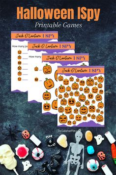 Jack O'Lantern I Spy printable activity pages. Options for preschool and bigger kids. Halloween fun for on the go or in the classroom. How many pumpkins can you find? Halloween Jack, Halloween Crafts For Kids, Holidays Halloween, I Spy, Jack O, Party Activities, Big Kids, Lanterns, Printables