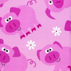 Pigs Flannel fabric by the yard 100% Cotton by Timeless Treasures. $7.95, via Etsy.