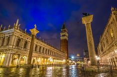 The shot shows the Piazzetta San Marco as seen from the lagoon. The Piazzetta is just besides St Mark's Square. Luckily, it was raining before I took the picture, so the wet cobblestones created those nice reflections. Shot Show, Big Ben, Venice, My Photos, San, Places, Pictures, Travel, Image