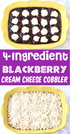 Blackberry Cobbler Recipe: Easy Cheesecake Crumble!  With just 4 ingredients, you'll fall in LOVE with this simple dessert, and the end result is outrageously delicious!  Go grab the recipe and give it a try this week!