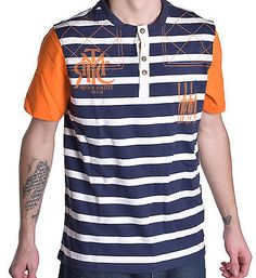 Prpgnda Men's Stripe Henley Tee Shirt
