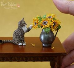 "I call this one ""Saucer of Milk"" Ginger Tabby Cat. One of my recent miniature scale cat sculptures of polymer clay, wire and furry coat of so. Miniature Tabby Cat Sculpture with saucer of milk Needle Felted Animals, Felt Animals, Needle Felting, Miniature Crafts, Miniature Dolls, Felt Cat, Mini Things, Small Things, Polymer Clay Crafts"
