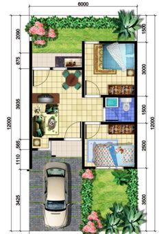 Planos de casas de 6m x 12m House Layout Design, Tiny House Design, Plan Design, Small House Floor Plans, Home Design Floor Plans, Layouts Casa, House Layouts, Minimalist House Design, Minimalist Home