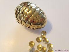 Oeuf d'or de dragon pour anniversaire harry potter  ou game of thrones, peut aussi servir pour Pâques