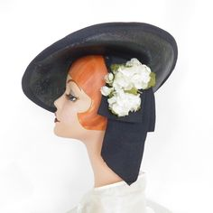 Vintage 1940s tilt hat, navy blue with white flowers, WW2 era by…