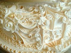Artisan cake-multiple piping layers much in the style of Mary Ford but taking it that bit further to make the scroll work really stand out. Reminds me of a beautiful embellished ceiling.