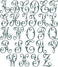 Wander through our massive selection of monogram embroidery; we have single, double, & triple letter embroidery, with interlaced monograms coming soon. Embroidery Alphabet, Embroidery Monogram, Embroidery Fonts, Creative Lettering, Cool Lettering, Lettering Styles, Hand Lettering Alphabet, Alphabet Art, Monogram Fonts