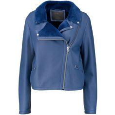 McQ Alexander McQueen Shearling-trimmed nubuck biker jacket (£900) ❤ liked on Polyvore featuring outerwear, jackets, blue, biker jacket, asymmetrical zip jacket, motorcycle jackets, blue biker jacket and lapel jacket