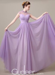 illusion high neck long pleated lilac tulle prom dress