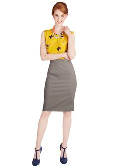 Executive Elegance Skirt. Your corner office has never look as impressive as when you sit behind your desk in this grey pencil skirt from Myrtlewood! #grey #modcloth