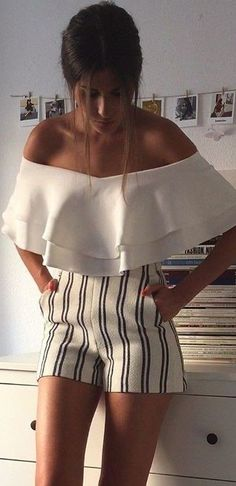 #summer #high #casual #outfits   White Ruffle Crop + Striped Shorts