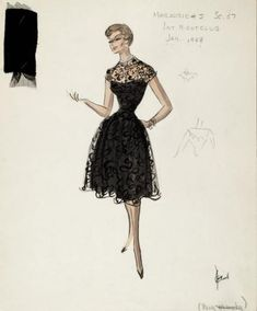 I've been trying to figure out how to show black lace over black fabric in my sketches. Edith Head figured it out. Now I know!