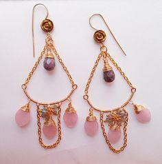 Luxurious chandelier earrings quartz earrings pink earrings