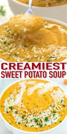 Creamy Sweet Potato Soup [Video] - Sweet and Savory Meals The Creamy Sweet Potato Soup is an ideal comforting appetizer for your upcoming dinner party! It is light, with a sweet and savory note to it, making it the most flavorful and delicious soups! Soup Appetizers, Sweet Potato Soup, Creamy Potato Soup, Cooking Recipes, Healthy Recipes, Diet Recipes, Vegetarian Recipes, Thanksgiving Recipes, Easter Recipes