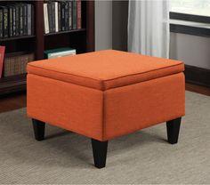 Table Storage Ottoman Traditional Orange Linen Foam Cushion Sturdy Furniture New #Portfolio #TraditionalTransitional #Table #Storage #Orange #Furniture