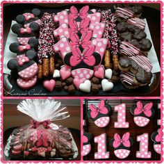 Minnie Mouse Pink Cookies First 1st Birthday Platter Chocolate Covered Oreos Dipped Pretzels Rice Krispie Treats.  OK this is really really really interesting, i'm very familiar with it. Quite amazing and interesting, very smart, I absolutely love it, it's super Epic