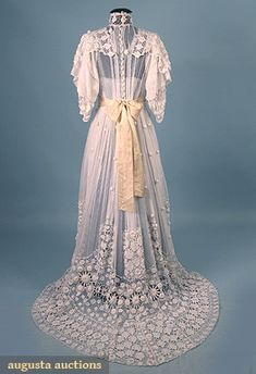IRISH CROCHET & NET DRESS, c. 1905