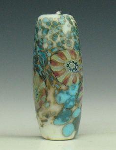 SJC Lampwork 26 x 10 mm. handmade murrini & silver glass tube bead ~SRA~ USA~ #SJCLampwork #Lampwork