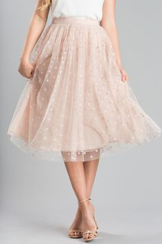 Evelyn Pink Polka Dot Tulle Midi Skirt - Morning Lavender