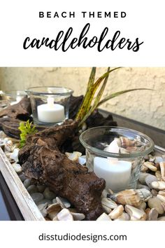 Summer Table Decorations, Beach Themes, Driftwood, Tablescapes, Sea Shells, Candle Holders, Candles, Handmade, Boutique