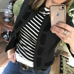 Mixing patterns : vintage cabi tee & cropped top(fall16) with the fab cabi spring17 #dot jacket  Instagram: janismurphy59 https://janismurphy.cabionline.com/collection/clothes/