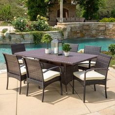 Beachcrest Home Lakewood Park  7 Piece Dining Set with Cushions