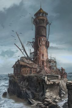 Abandoned building sea ocean landscape place environment by lonely Andaly lighthouse - Fantasy - Game Art Fantasy Art Landscapes, Fantasy Landscape, Fantasy Artwork, Landscape Rake, Landscape Artwork, Vintage Landscape, Landscape Edging, House Landscape, Landscape Lighting