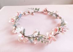 Items similar to bridal hair vine, flower garland, blush pink flower, pink and mint, mint wedding hairpie bridal hair vine flower garland blush pink flower by thehoneycomb Flower Crown Wedding, Bridal Flowers, Flowers In Hair, Pink Flowers, Crown Flower, Flower Crowns, Flower Girl Wreaths, Hair Wreaths, Flower Garlands