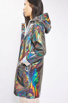 Longline Metallic Rain Mac - New In Fashion - New In - Topshop USA