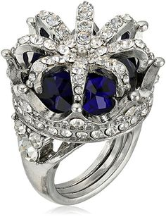 Betsey Johnson Cocktail Rings Pave Faceted Stone Crown Statement Ring, Size 7