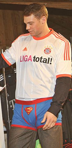 Manuel Neuer wearing Superman underwear as overwear