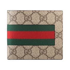 e5159a570e1fae Gucci GG Supreme Wallet ($340) ❤ liked on Polyvore featuring men's fashion,  men's