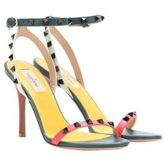 "Pre-owned Valentino 4"" Rockstud Multicolor Ankle-strap Leather Sz 37.5... (7.595.500 IDR) ❤ liked on Polyvore featuring shoes, sandals, pink green white, white shoes, valentino sandals, pink shoes, pink sandals and colorful sandals"