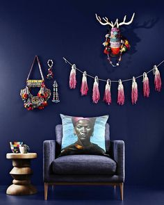 Pops of coral and pink against navy for Dulux Paints.