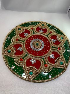 Reusable Acrylic Rangoli Home Decor floor decoration table image 0 Arti Thali Decoration, Kalash Decoration, Diwali Decorations At Home, Festival Decorations, Centerpiece Decorations, Decoration Table, Cd Decor, Home Decor, Rangoli Patterns