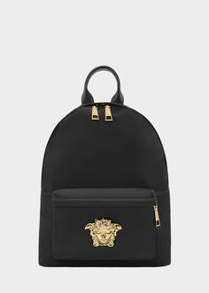 Nylon Palazzo Backpack from Versace Women's Collection. Durable, nylon backpack from the Palazzo line with zipped front central Medusa pocket, leather, top handle and adjustable shoulder straps. Versace Backpack, Versace Bag, Backpack Purse, Black Backpack, Leather Backpack, Fashion Handbags, Purses And Handbags, Versace Collection Handbags, Nylons