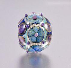Handmade, lampwork, large hole round bead.