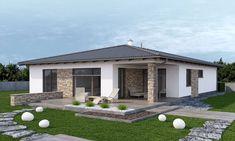 dobro Luxusný bungalov s dvojgarážou - vizualizácia 03 Model House Plan, My House Plans, Home Building Design, Building A House, Exterior Wall Design, Rest House, Container Buildings, House Front Design, Backyard Patio Designs