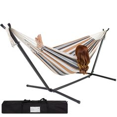 Best Choice Products Double Hammock With Space Saving Steel Stand Includes Portable Carrying Case Indoor Hammock, Hammock Chair, Swinging Chair, Indoor Outdoor, Outdoor Living, Outdoor Spaces, Rocking Chair, Wooden Hammock, Chair Bed