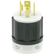 30 Amp 250-Volt 3-Phase Locking Grounding Plug, Black/White