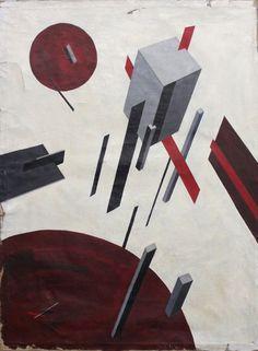 """El LISSITZKY (1890-1941) """"Proun 5A"""", C.1921. Huile sur toile, signée en bas au centre. Haut: 79 cm Larg: 59,5 cm (toile marouflée, déchirures et restaurations). Le Chesnay Enchères - 19/04/2015"""