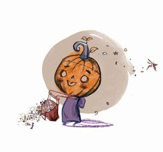 Welcome back #Autumn!! An #orange number for #colour_collective now the seasons are on the shift again.  Did anyone else crack out their #winterwear this week?  #chilly #kidlitart #monster #pumpkinhead #trickortreat #halloween #jackolantern #lantern #pumpkin #cutie #sweeties #sugar #candy #illustration #picturebook