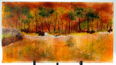 """Fused glass """"Lake Reflection"""" 10"""" x 18"""" by Anne Cavanaugh - links to her gallery!!!"""
