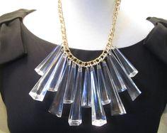 Vintage Lucite Fringe Necklace Runway by LadyandLibrarian on Etsy #lucite #necklace #ladyandlibrarian