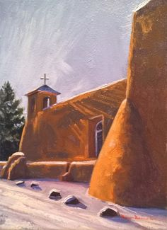 """Paintings from one of two of the Dix Baines Studio Auctions l """"Adobe Snow"""" l 5x7 I Dix Baines I Fine Artist l Original Oil Paintings I Southwest Church l Snow l Winter I New Mexico l Auctions l www.dixbaines.com/studio-auctions"""