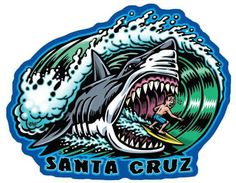 Draw Sharks Santa Cruz Shark full color shaped vinyl sticker - High quality full color shaped vinyl Santa Cruz Shark sticker with artwork created by Jimbo Phillips, This full color artist sticker is 4 X 3 and a must have! thanks for viewing! Skateboard Deck Art, Skateboard Design, Santa Cruz Stickers, Santa Cruz Logo, Shark Tattoos, Vintage Skateboards, Surf Design, Skate Art, Surf Art