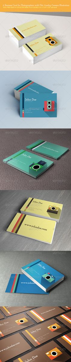 6 Business Vector Cards for Photographers Bundle