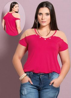 Blusa detalhes transparentes pink plus size - posthaus roupas plus size, te Style Blog, Lauren, Transparent, Refashion, Pulls, Ideias Fashion, Active Wear, My Size, Fashion Clothes