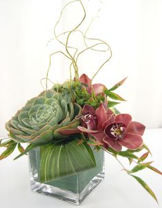 Simple and understated, we mixed tons of texture to make this arrangement pop including orchids, succulents, willow branches, and tropical greens. Flowers by A Floral Affair. #weddingflowers #everydayflowers