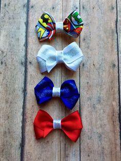 Superheroes Mini Bow Hair clip set (4) | Wonder Woman | Batman | Superman | Green Lantern | Flash | Capian America | headband | DC Marvel by ShopSassyBabes on Etsy https://www.etsy.com/listing/248993854/superheroes-mini-bow-hair-clip-set-4